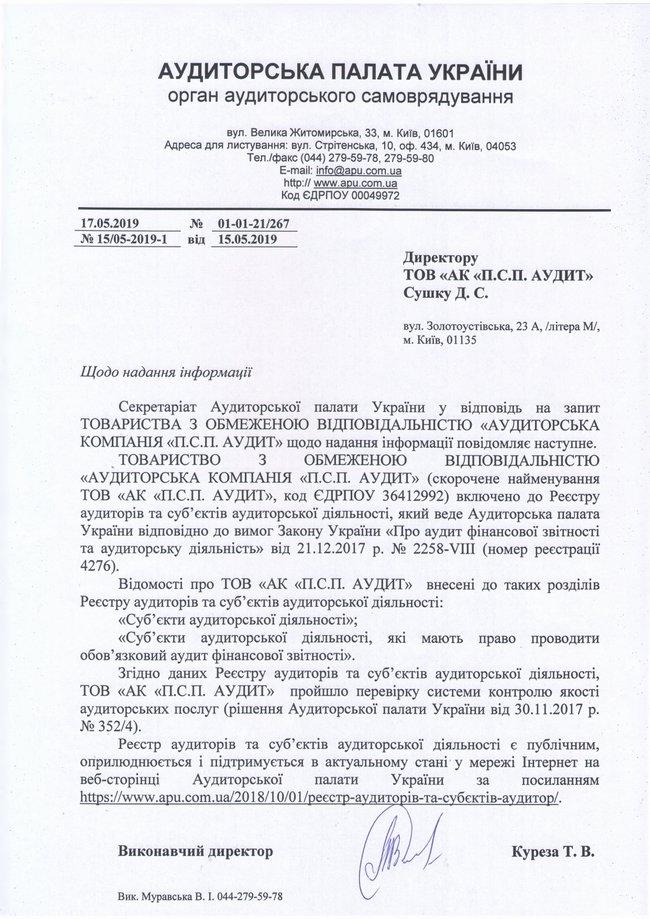 """АК """"П.С.П. АУДИТ""""  внесена до Реєстру аудиторів та суб'єктів аудиторської діяльності"""